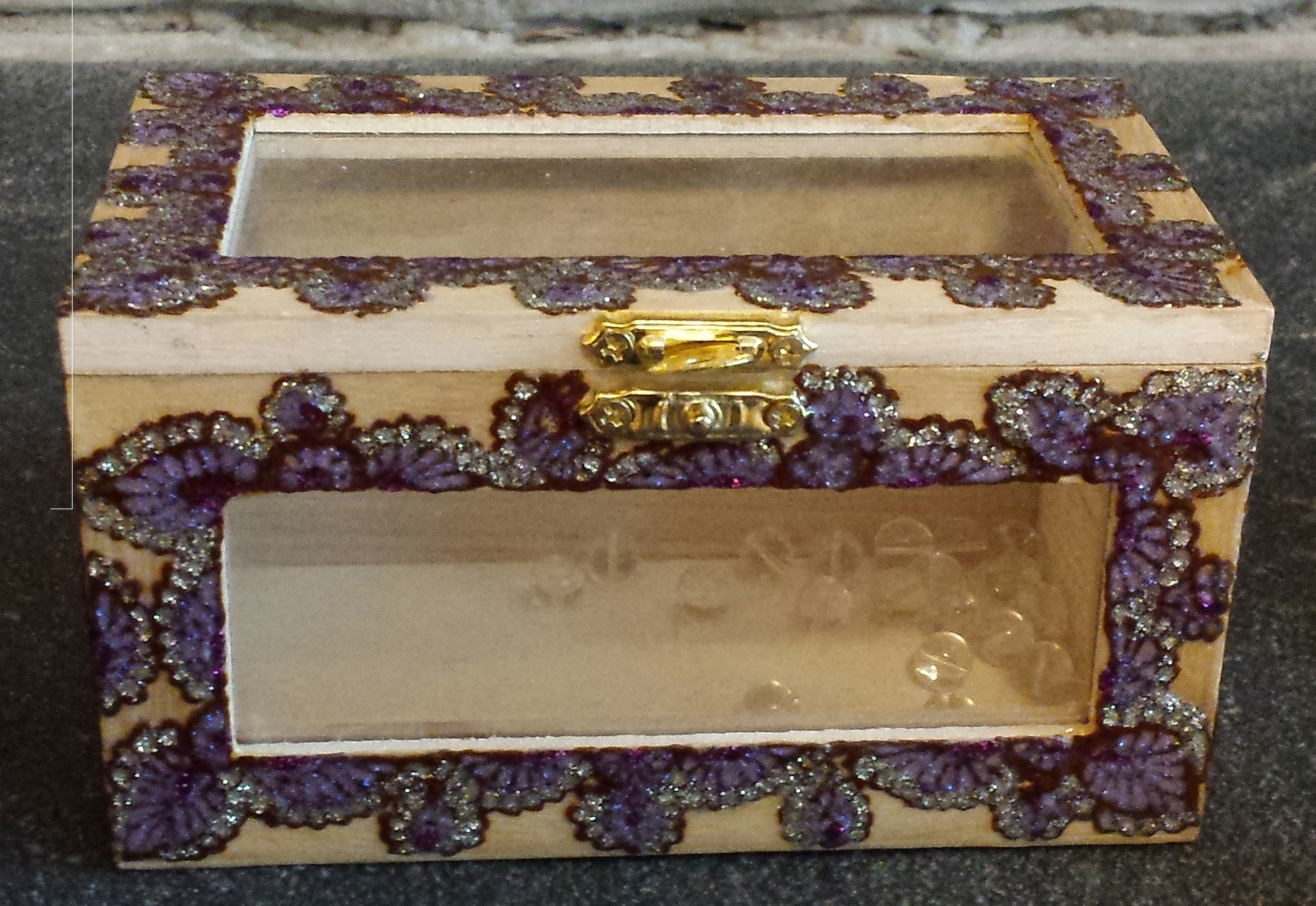 Henna Glass box- Purple